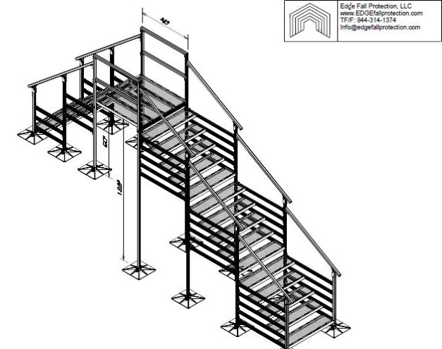 128x60 Variable Height Roof Crossover - EDGE Fall Protection